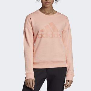 Adidas Must Have Badge of Sport Logo Crew Sweatshirt Pink Oversized Activewear